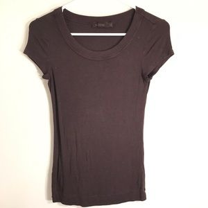The Limited Knit Brown Short Sleeve Top Scoop Neck